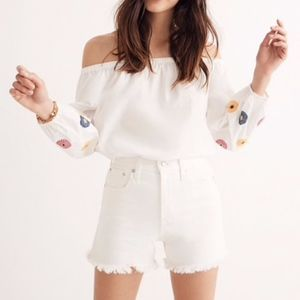 New Madewell Embroidered Off-the-Shoulder Top XS